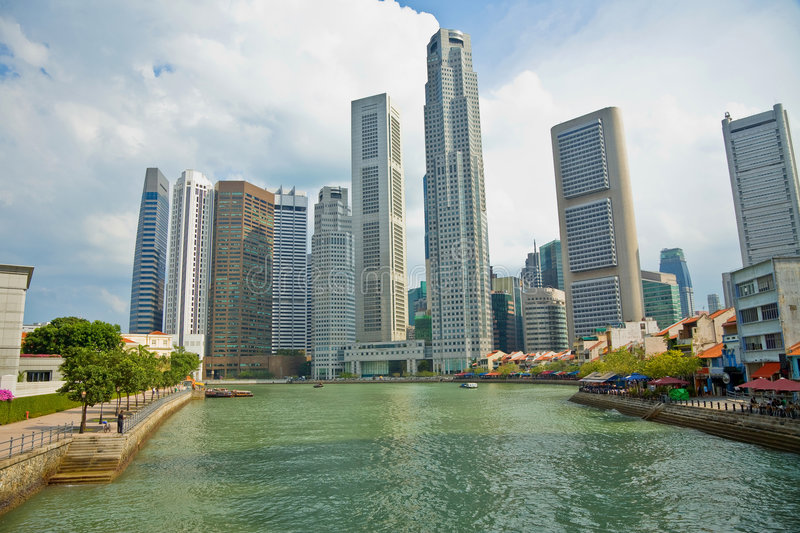 Singapore central business district skyline. Asia stock photo