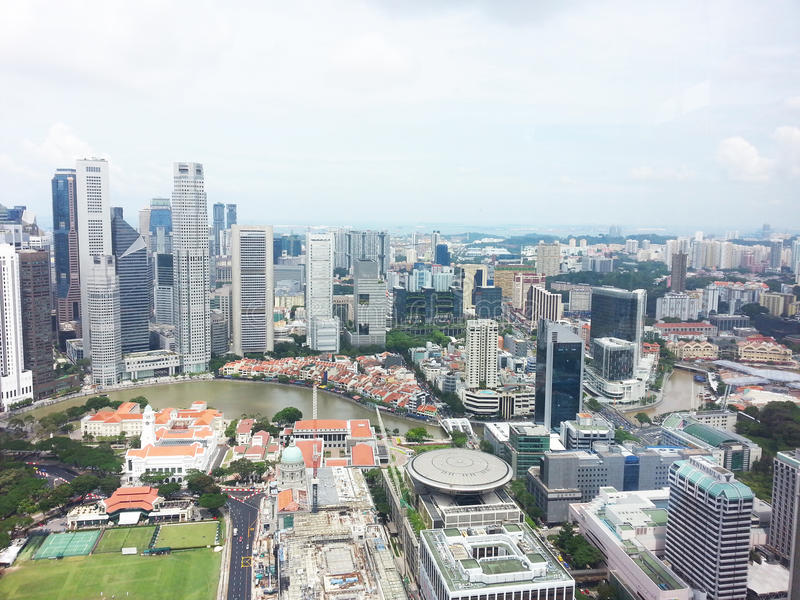 Singapore central business district skyline. View of central business district (Shenton Way, Singapore River, Padang), Singapore stock photography