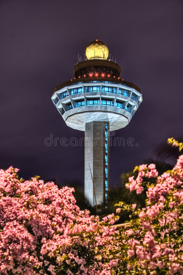 Free Singapore Changi Airport Control Tower At Night Royalty Free Stock Photography - 3908217