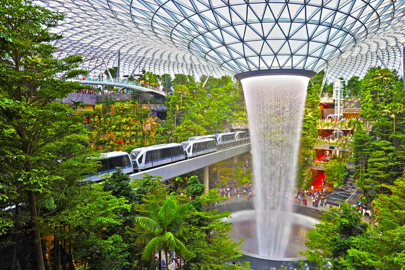 Singapore changi airport the jewl with highest indoor fountain. Singapore changi airport the jewl with highest indoor royalty free stock images