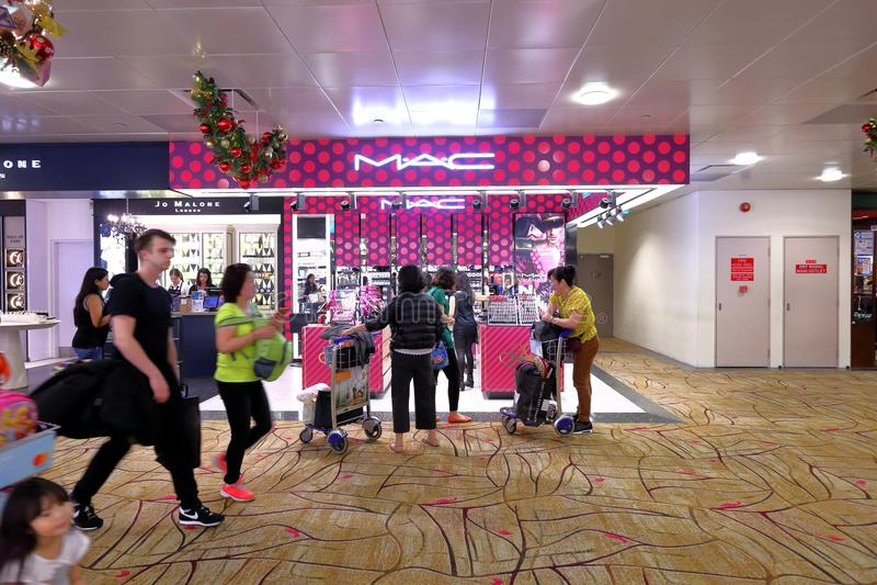 Singapore: Changi airport MAC shop royalty free stock photos