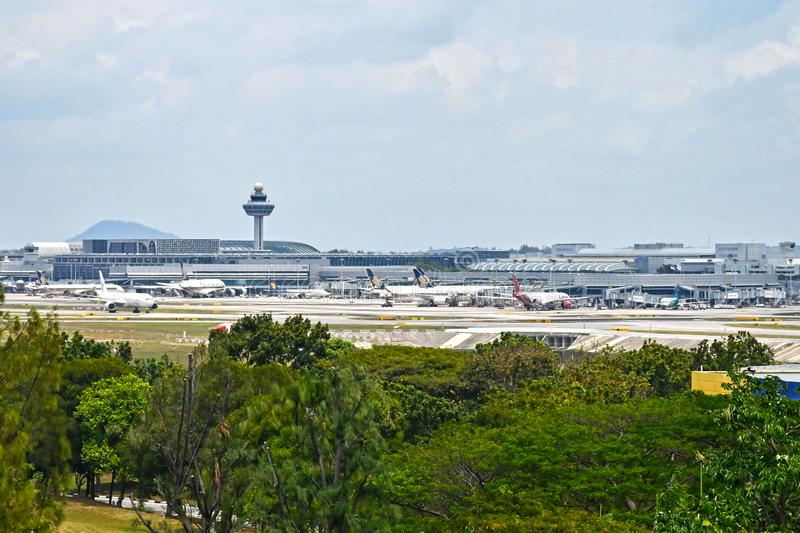 Singapore Changi Airport with Passenger Jets 2019 royalty free stock image