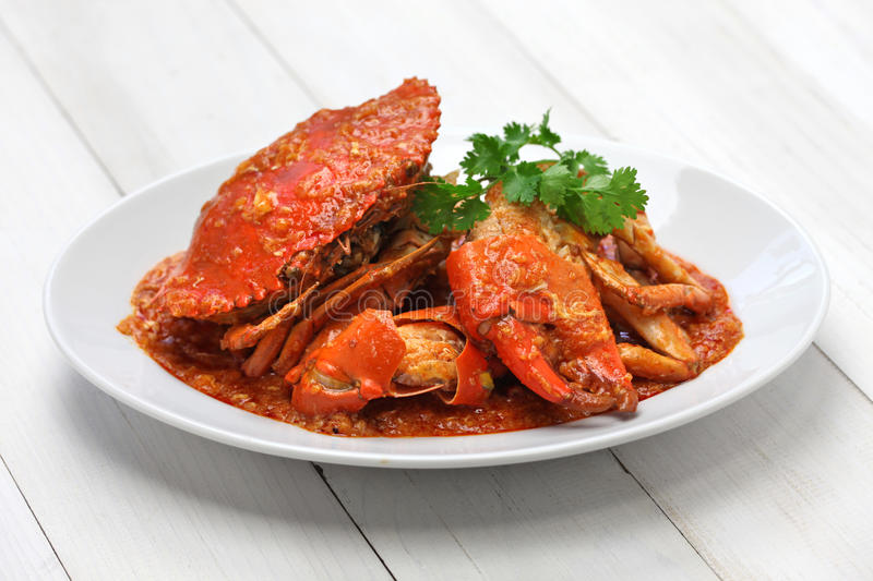 Singapore chili crab. Chilli mud crab, singapore cuisine royalty free stock photography