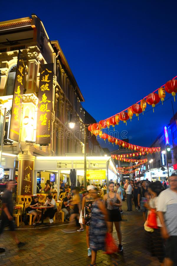 Singapore China Town. Singapore, September 30, 2018. Night life in Pagoda Street, Chinatown, Singapore City. Chinatown is a popular place for tourist to shop and stock photo