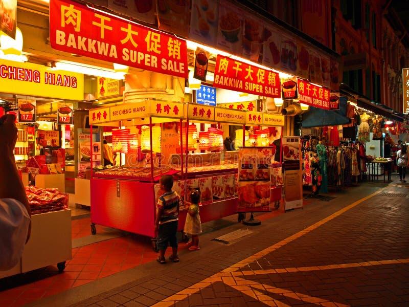 Singapore Chinatown Night Scene royalty free stock image