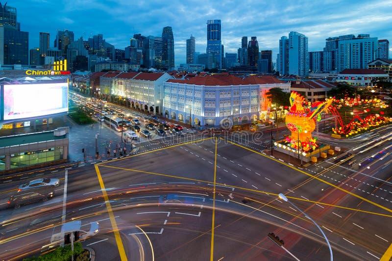 Singapore Chinatown 2017 ore cinesi del blu del nuovo anno fotografie stock libere da diritti