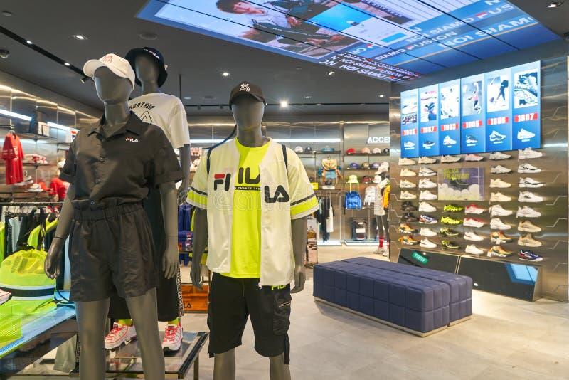 Fila. SINGAPORE - CIRCA APRIL, 2019: interior shot of Fila store in Jewel Changi Airport stock image