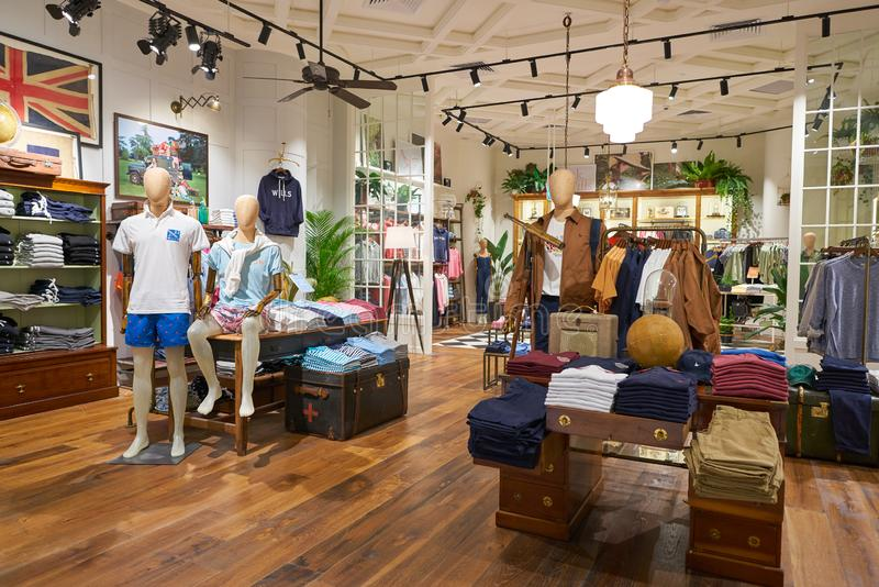 Jack Wills. SINGAPORE - CIRCA APRIL, 2019: interior shot of Jack Wills store in Jewel Changi Airport royalty free stock photos