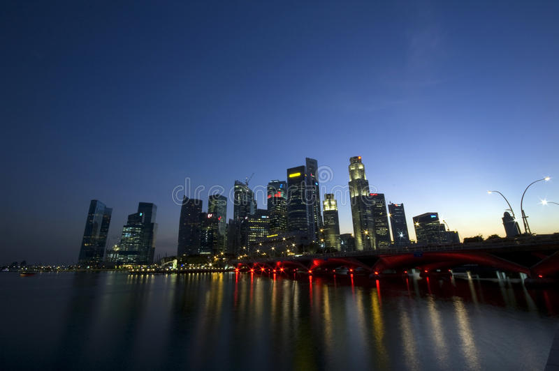 Singapore City. By the bay at Night royalty free stock image