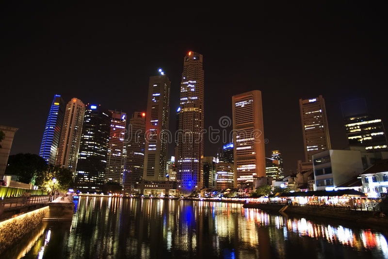 Singapore - city center, night view stock image
