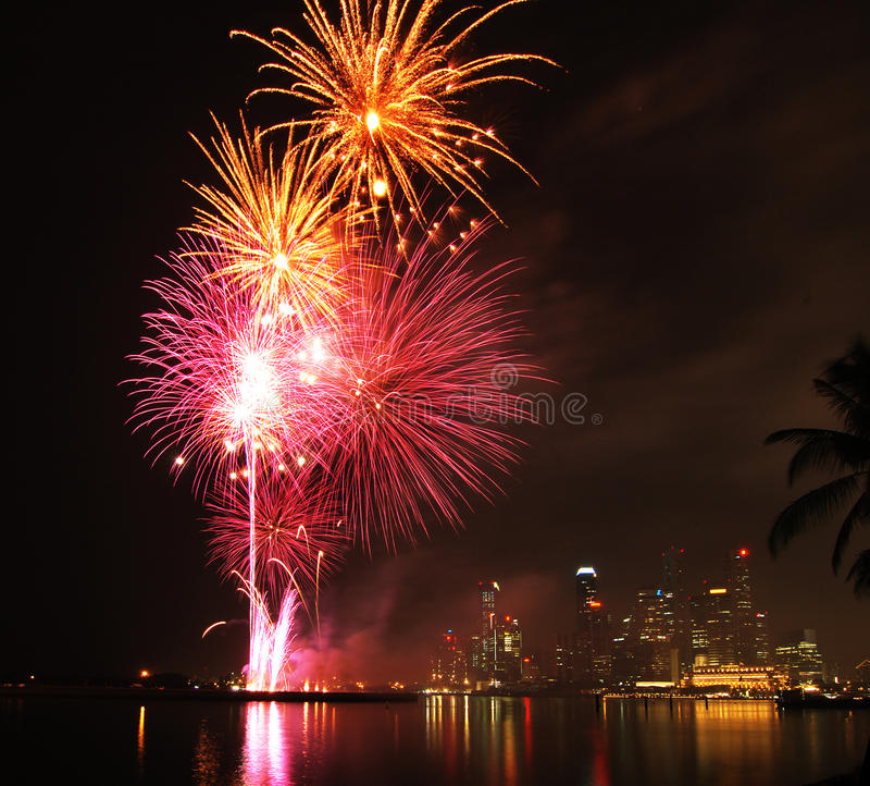 Singapore city fireworks stock images