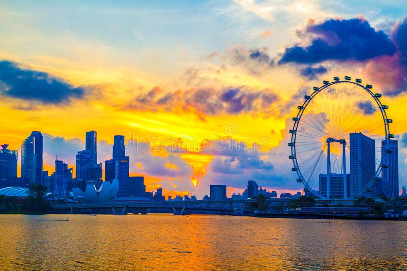 SINGAPORE CITY, SINGAPORE: Jan 2,2018: Singapore Skyline. Singapore`s business district, marina bay sand and the garden by the ba. Y on sunrise royalty free stock photo