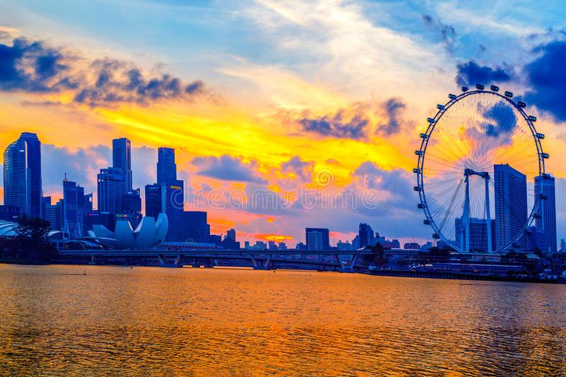 SINGAPORE CITY, SINGAPORE: Jan 2,2018: Singapore Skyline. Singapore`s business district, marina bay sand and the garden by the ba. Y on sunrise stock photo