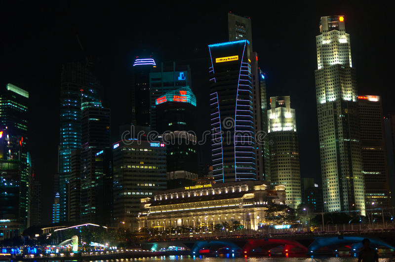 Singapore City By Night Editorial Photo