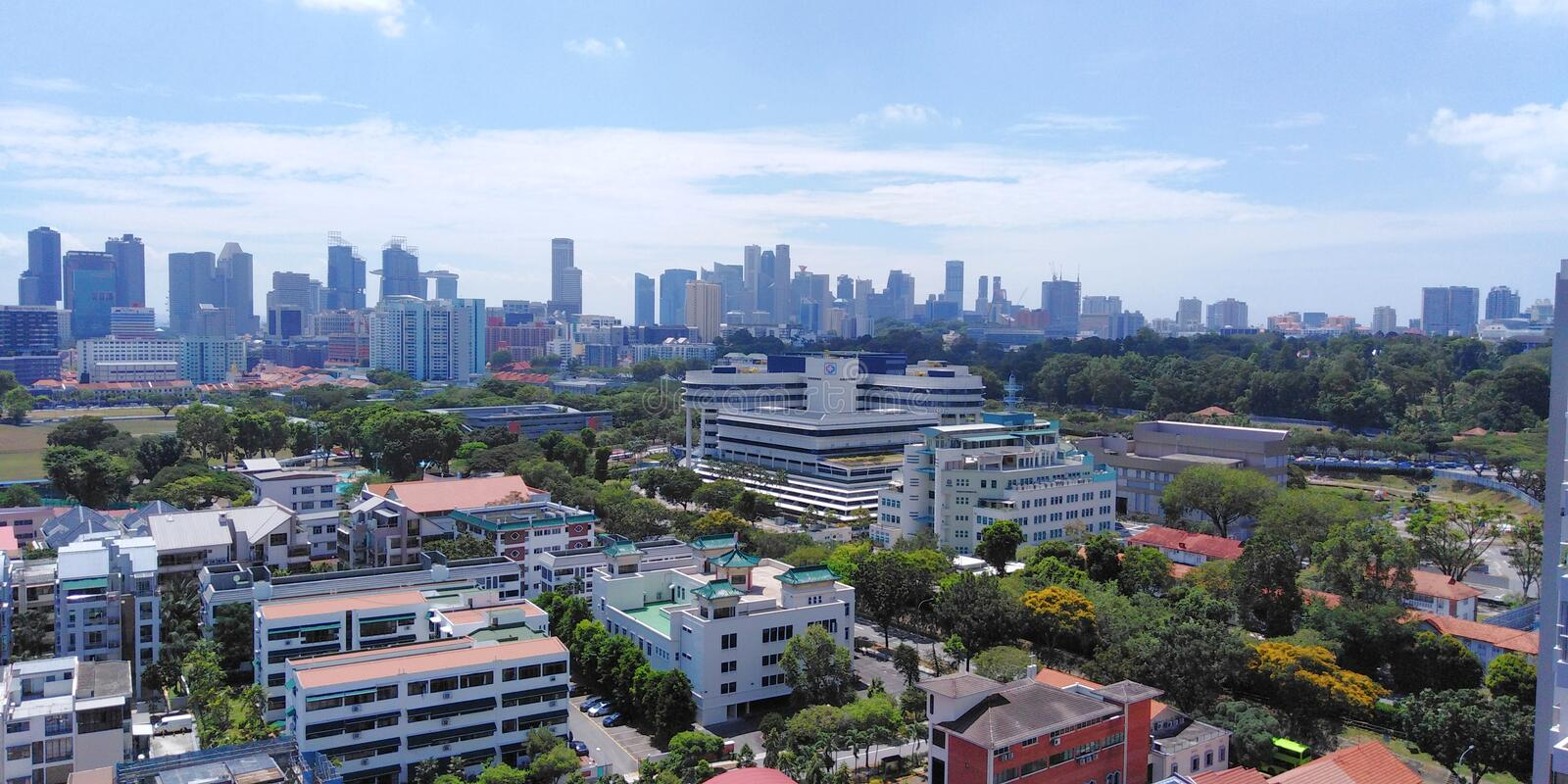 Singapore City outskirts. KK Women& x27;s and Children& x27;s Hospital & x28;middle& x29; is located at the outskirts of the city in Singapore central royalty free stock image
