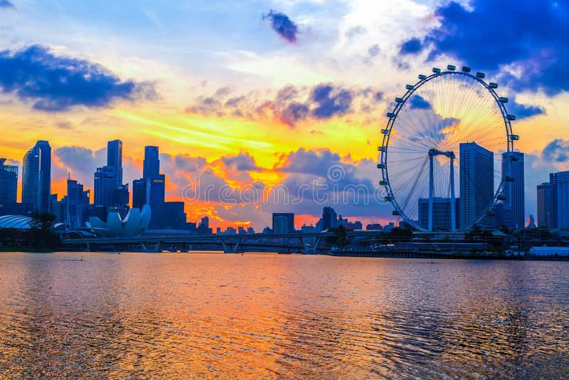 SINGAPORE CITY, SINGAPORE: Jan 2,2018: Singapore Skyline. Singapore`s business district, marina bay sand and the garden by the ba. Y on sunrise stock image