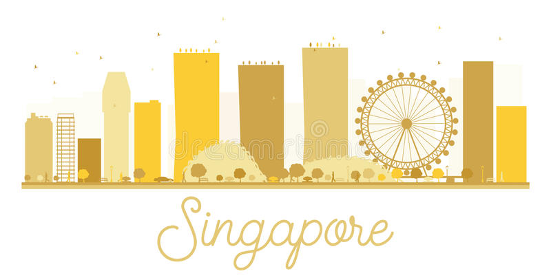 Singapore City skyline golden silhouette. stock illustration