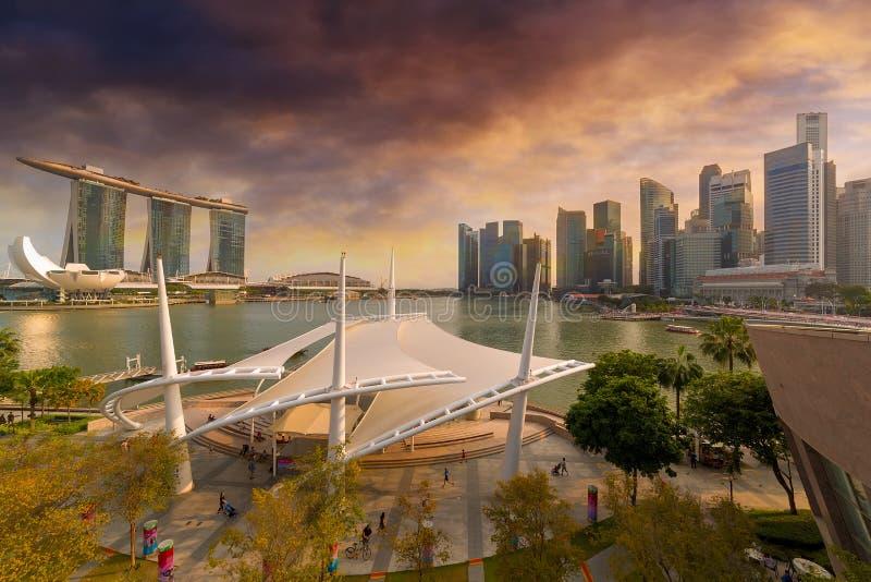 Singapore City Skyline by Marina Bay Sunset stock photo