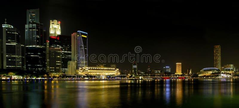 Download Singapore City Skyline At Night Panorama Stock Image - Image: 15967389