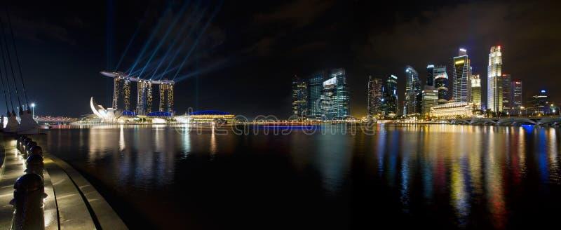Download Singapore City Skyline At Night Panorama Stock Image - Image: 23193615
