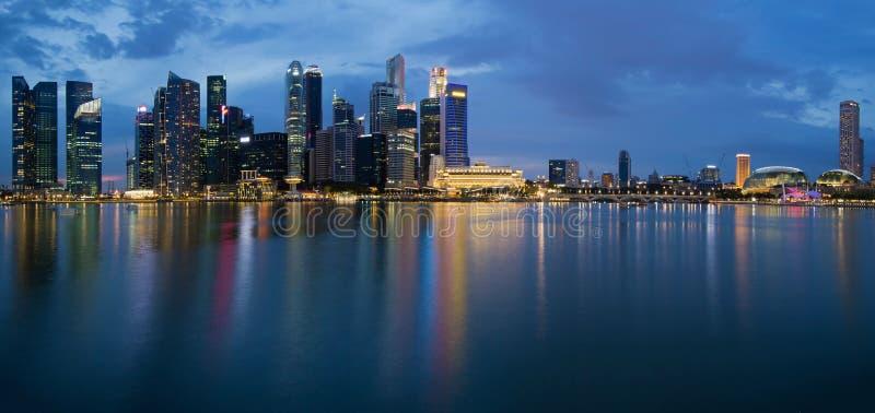 Singapore City Skyline Panorama at Twilight stock photography