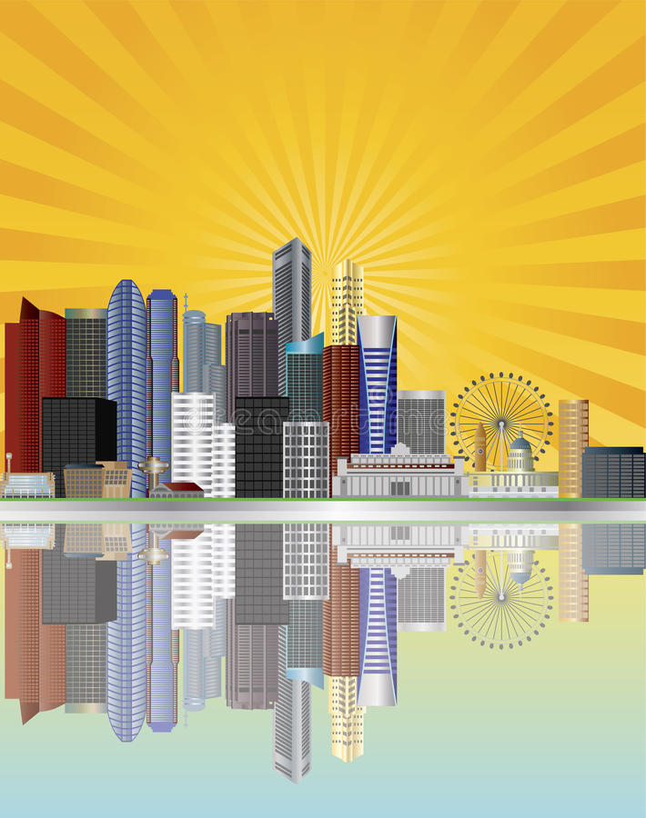 Singapore City Skyline With Sun Rays Illustration Stock Images