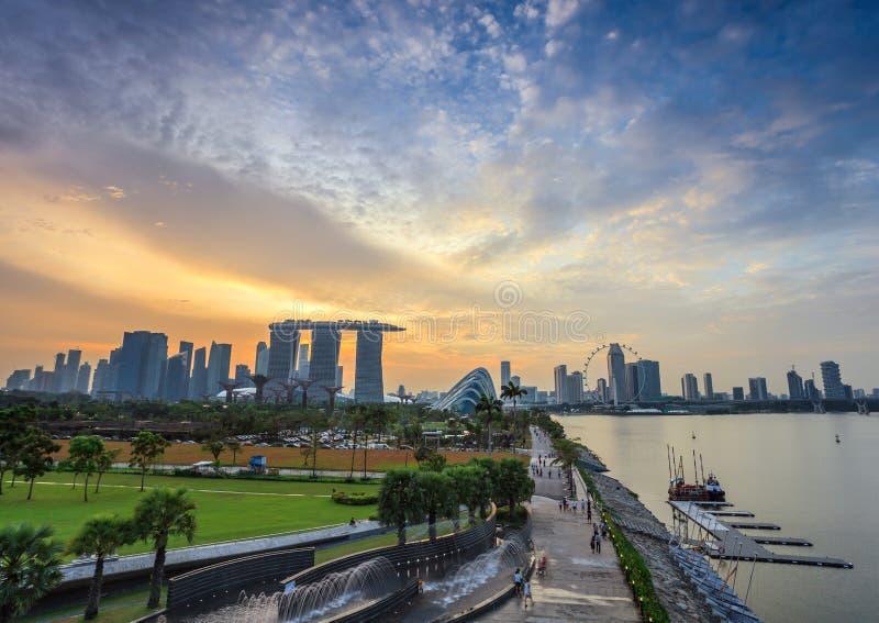 Singapore cityscape when sunset. Singapore city skyline when sunset stock photo