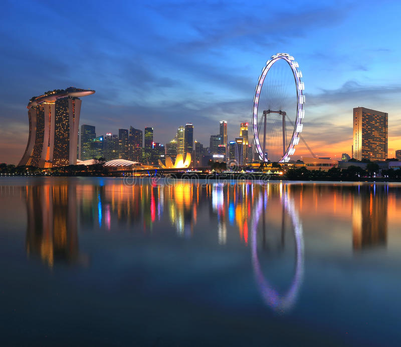 Singapore city skyline at sunset time stock image