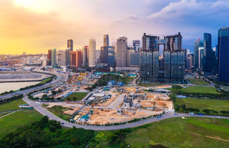 Singapore city skyline and traffic at evening.  royalty free stock images