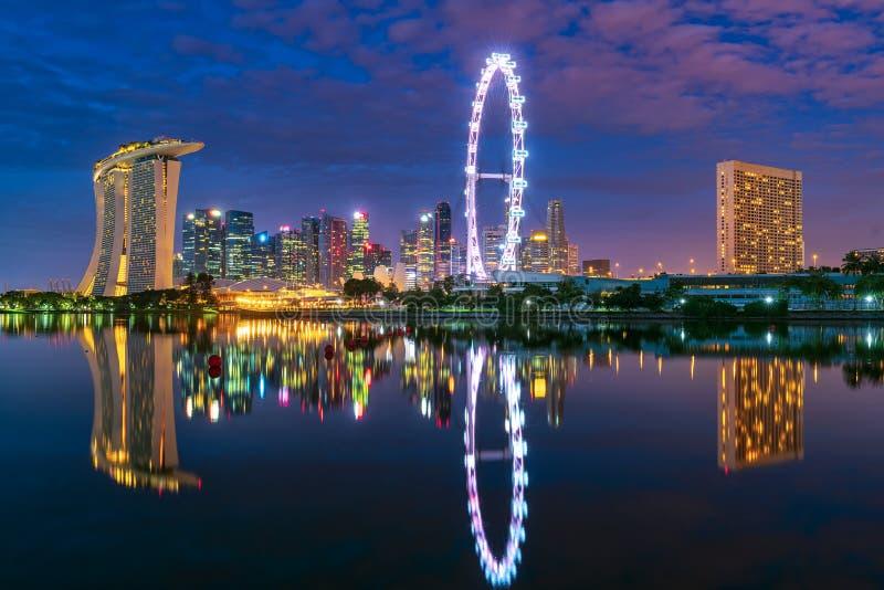Singapore cityscape at dusk stock photo