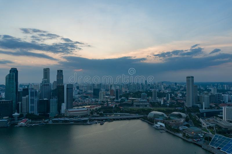 Singapore cityscape at dusk. Modern skyscrapers of Asian financial megalopolis at night.  stock photo