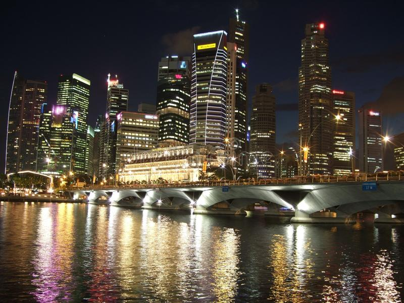 Download Singapore Cityscape By Night Stock Photo - Image: 13075106