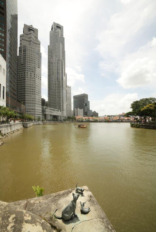Singapore cityscape på dagen royaltyfria bilder