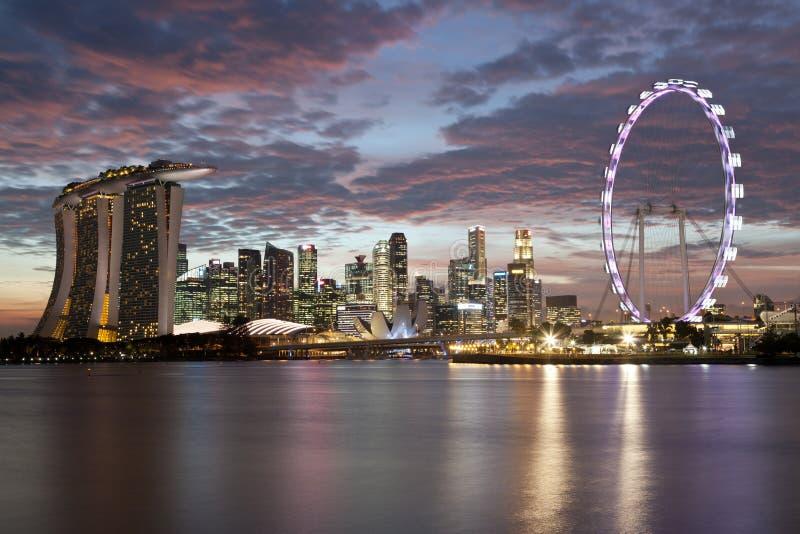 Singapore cityscape at sunset royalty free stock photos