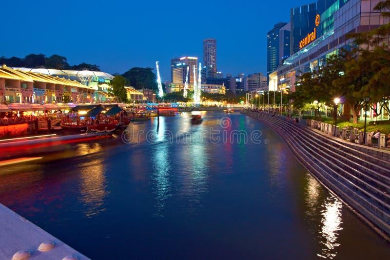 Singapore. Clarke Quay at Night stock photo