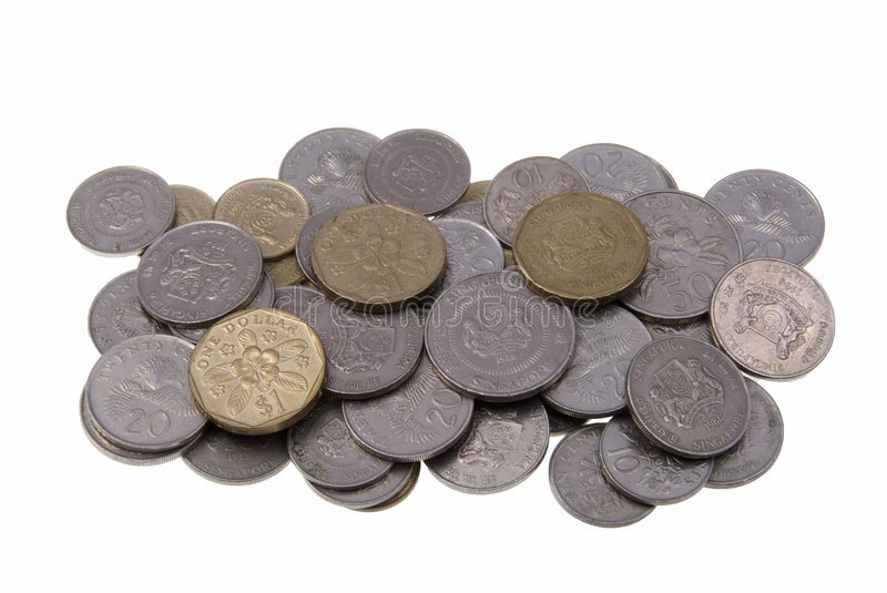 Singapore coins. Pile of Singaporean coins isolated on white background royalty free stock photos