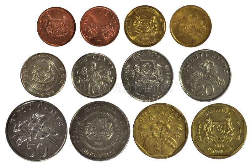 Singapore coins set royalty free stock photos