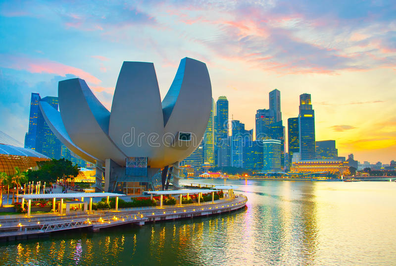 Singapore colorful cityscape royalty free stock photo