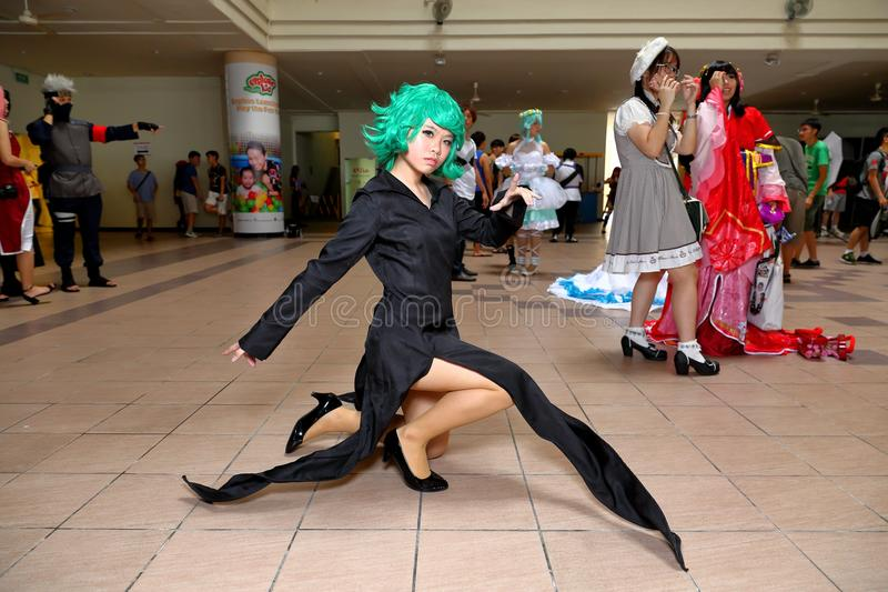 Singapore: Cosplay. Unknown pretty cosplayer at one of the many costplay events in Singapore stock photo