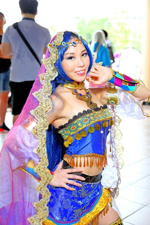 Singapore: Cosplay. Unknown pretty cosplayer at one of the many costplay events in Singapore stock image