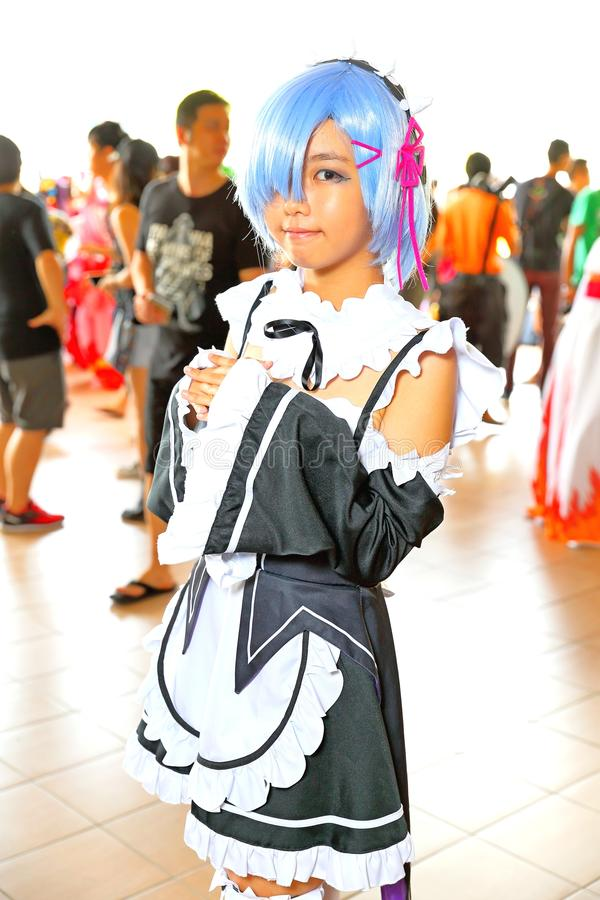 Singapore: Cosplay. Unknown pretty cosplayer at one of the many costplay events in Singapore royalty free stock photos
