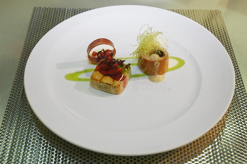 Singapore cuisine. An artistic dish from singapore at luxembourg expogast international competition stock images