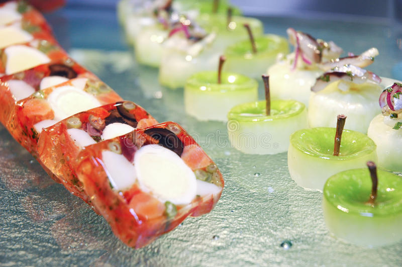 Singapore cuisine. An artistic dish from singapore at luxembourg expogast competition stock photography