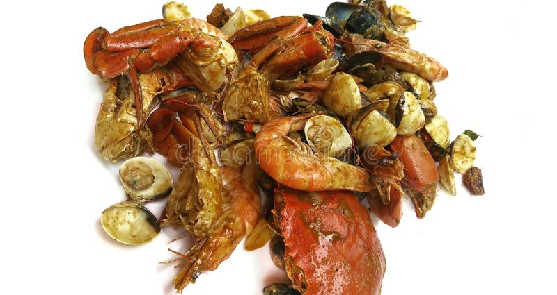 The Singapore cuisine - curry chilli crabs with mussels and clams. A photo taken on a dish spread of curry chilli crabs with mussels and clams against a white royalty free stock image