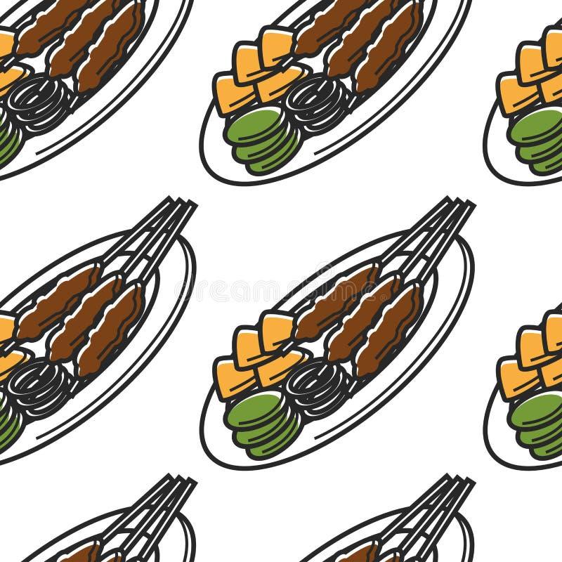 Free Singapore Cuisine Seamless Pattern Satay Dish And Traveling Stock Photos - 150858923