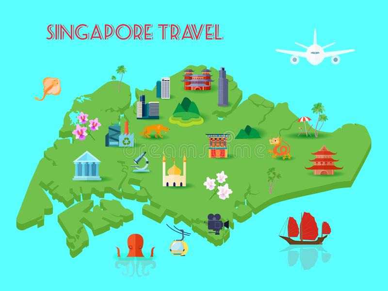 Singapore Culture Composition royalty free illustration