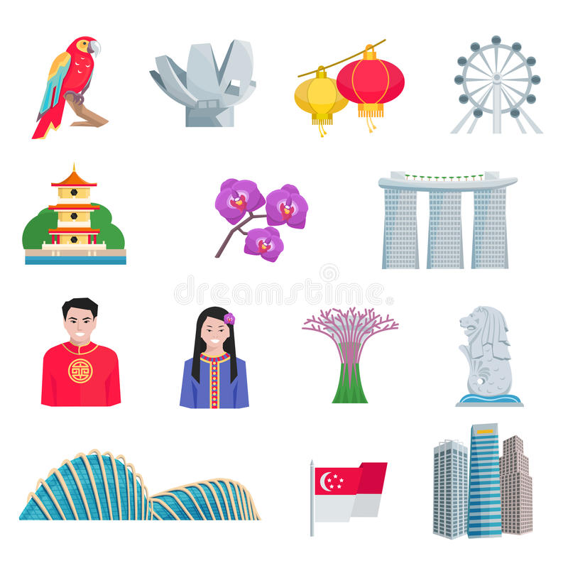 Singapore Culture Flat Icons Set royalty free illustration