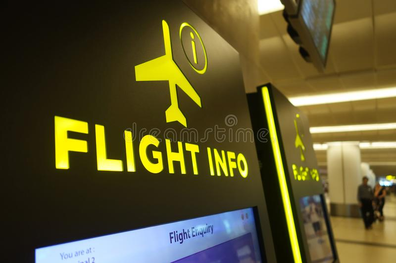 Flight info panel at Changi Airport. SINGAPORE- 10 DEC, 2017: Flight info panel at Changi Airport Singapore. Singapore airport provides the best shopping royalty free stock photography