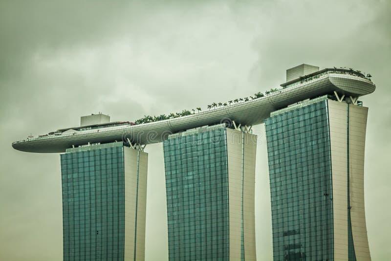Singapore, 20,2013 December: Marina Bay Sands Resort Hotel stock afbeelding
