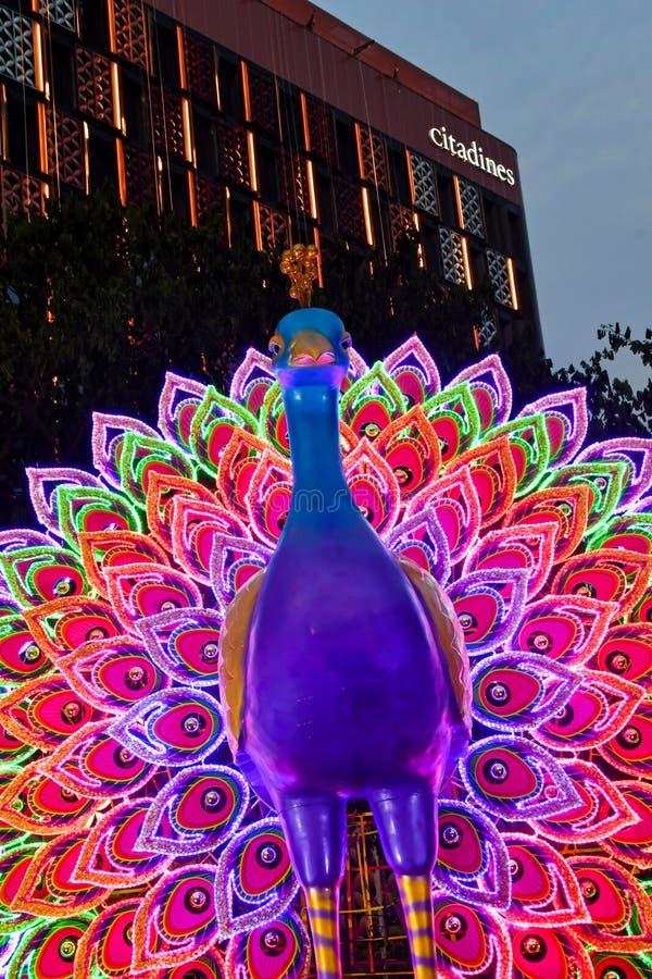 Singapore Deepavali Light Up 2019. Illuminated peacock at Singapore`s Little India Deepavali Festive Light-Up 2019. The illumination is an annual ethnic festival royalty free stock photography
